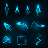Blue abstract glowing arrows vector Stock Images