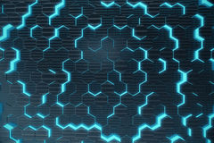 Blue abstract hexagonal glowing background, futuristic concept. 3d rendering. Blue abstract hexagonal glowing background, futuristic concept, 3d rendering stock illustration