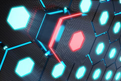 Blue abstract hexagonal glowing background, futuristic concept, 3D rendering. Blue abstract hexagonal glowing background, futuristic concept. 3D rendering Stock Image
