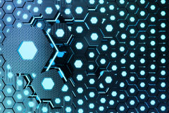 Blue abstract hexagonal glowing background, futuristic concept, 3D rendering. Blue abstract hexagonal glowing background, futuristic concept. 3D rendering Stock Photos