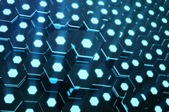 Blue abstract hexagonal glowing background, futuristic concept, 3D rendering. Blue abstract hexagonal glowing background, futuristic concept. 3D rendering Royalty Free Stock Photos
