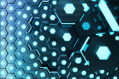 Blue abstract hexagonal glowing background, futuristic concept, 3D rendering Stock Photos