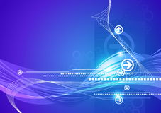 Blue abstract hi-tech background. Blue abstract hi-tech futuristic background with arrows and waves Stock Illustration
