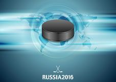 Blue abstract hockey background with black puck Royalty Free Stock Images