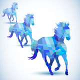 Blue abstract horse of geometric shapes Stock Photography