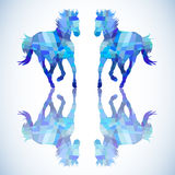 Blue abstract horse of geometric shapes Stock Images