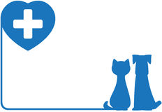 Icon with dog, cat and heart. Blue abstract icon with dog, cat and heart Stock Photos