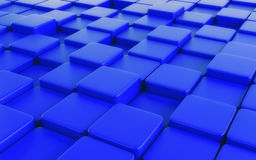 Blue abstract image of cubes background. 3d render Royalty Free Stock Image
