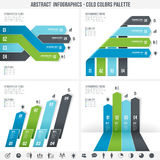 Blue Abstract Infographics set 3. A Blue set for abstract overlapping infographics banners Royalty Free Stock Image