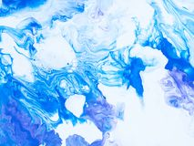 Blue abstract marble creative hand painted background. Blue creative abstract hand painted background, close-up fragment, brush acrylic painting on canvas Stock Photos