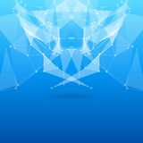 Blue Abstract Mesh Background with Circles, Lines Royalty Free Stock Photo