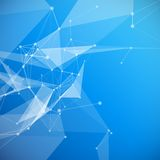 Blue Abstract Mesh Background with Circles, Lines Stock Photo