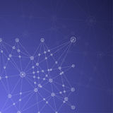 Blue Abstract Mesh Background with glowing lines, circles and sh Stock Image