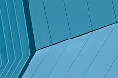 Blue Abstract Modern Building. Abstract of a blue modern design building.  Unusual perspective Royalty Free Stock Images