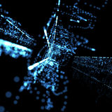 Blue abstract neon technological background Royalty Free Stock Images