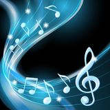 Blue abstract notes music background. Vector illustration Royalty Free Stock Images