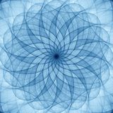 Blue abstract ornament. Detailed spiral drawing, art guilloche Stock Images