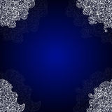 Blue abstract ornamental vector frame with white lacy corners Royalty Free Stock Photography