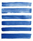 Watercolor. Blue abstract painted ink strokes set on watercolor paper. Ink strokes. Flat kind brush stroke. Blue abstract painted ink strokes set on watercolor Royalty Free Stock Photography