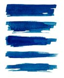 Watercolor. Blue abstract painted ink strokes set on watercolor paper. Ink strokes. Flat kind brush stroke. Blue abstract painted ink strokes set on watercolor Stock Photography