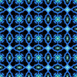 Blue Abstract Seamless Pattern Design on a Black Background Stock Photo