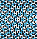 Blue abstract seamless pattern with interweave lines. Vector orn Royalty Free Stock Images