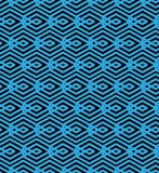 Blue abstract seamless pattern with interweave lines. Vector orn Stock Photo