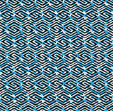 Blue abstract seamless pattern with interweave lines. Vector ove Stock Images