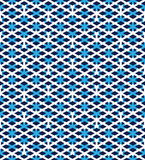 Blue abstract seamless pattern with interweave lines. Vector ove Stock Image