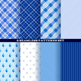 Blue abstract seamless patterns set Royalty Free Stock Images