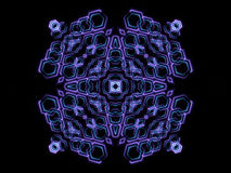 Blue abstract shapes and black background. Kaleidoscope light Royalty Free Stock Photos