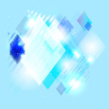 Blue abstract shiny background from lines and rhombs Stock Photography