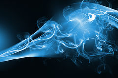 Blue abstract smoke design. On black background Stock Photo