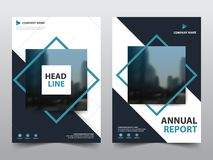 Blue abstract square annual report Brochure design template vector. Business Flyers infographic magazine poster.Abstract layout vector illustration