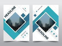 Blue abstract square annual report Brochure design template vector. Business Flyers infographic magazine poster. stock illustration