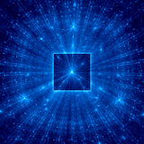 Blue abstract square with blue rays Royalty Free Stock Images