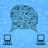 Blue Abstract Sspeech Cloud between Two Laptop Computer. Stock Image