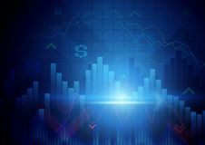 Blue abstract Stock Market concept background. Blue abstract Stock graph and chart Market concept background Royalty Free Stock Photography