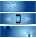Blue abstract tech banners for web design Stock Photography