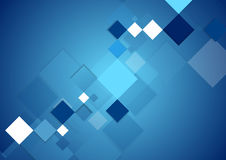 Blue abstract tech geometric digital background. With squares. Vector drawing design Royalty Free Stock Photos
