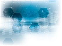 Blue abstract technology backgrounds. With hexagons in vector royalty free illustration