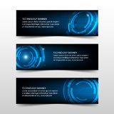Blue abstract technology corporate business banner template, horizontal advertising business banner layout template flat design Royalty Free Stock Images