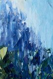Blue abstract theme - modern impressionism impasto fine art. Fragment closeup of palette knife oil painting on canvas - Blue abstract theme - modern royalty free stock images
