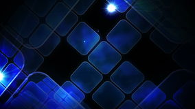 Blue abstract tiles on black background stock video footage