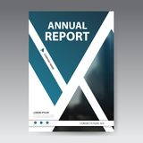 Blue abstract triangle annual report Brochure design template vector. Business Flyers infographic magazine poster. Royalty Free Stock Photos