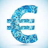 Blue abstract triangles vector euro symbol Royalty Free Stock Image