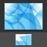 Blue abstract trifold template illustration Royalty Free Stock Images