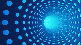 Blue abstract tunnel with holes in highway for technology. Background. Moving toward the light. 3d illustration Royalty Free Stock Photo