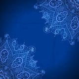 Blue abstract vector background. Lace border frame Stock Photo