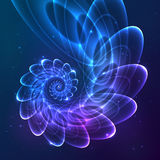 Blue abstract vector fractal cosmic spiral vector illustration